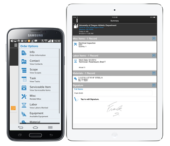Service Pro Mobile field service app for iOS and Android devices