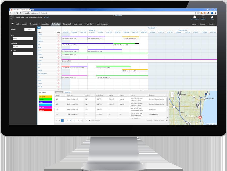 field service app caterpillar - visual scheduling software