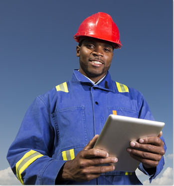 Construction worker with mobile construction software on iPad